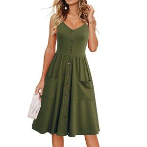 Army Green Spaghetti Strap Button Down Midi Dress